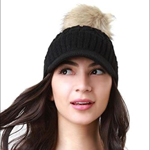 5f80169aa5a Cable Knit Ball Cap W  Raccoon Fur Pom Pom (Black)